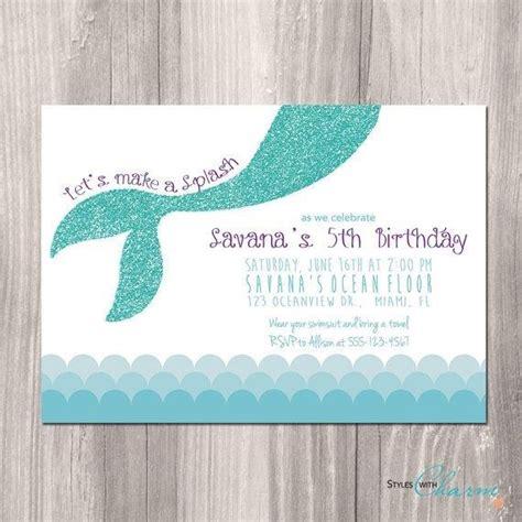 mermaid birthday card template turquoise glitter mermaid birthday invitation girly