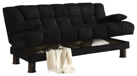 black skin microfiber adjustable tufted storage futon sofa
