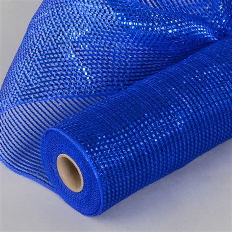 deco mesh 21 quot poly deco mesh deluxe wide foil royal blue re104125 craftoutlet