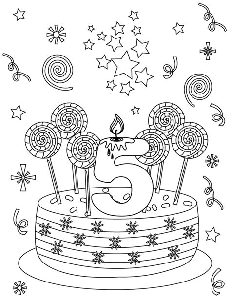 Carte d'anniversaire 5 ans - Dory.fr coloriages