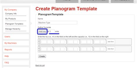a template creating a planogram template airvend support