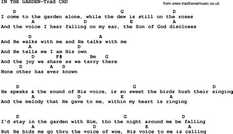 In The Garden Chords by Gospel Song In The Garden Trad Lyrics And Chords
