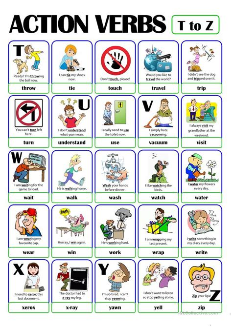 pictionary verb set 5 from t to z worksheet free esl printable worksheets made by