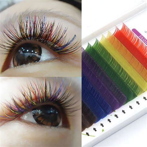 colored extensions individual multi colored eyelash extensions rainbow color