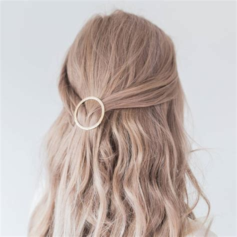 02958 Hair Clip Hairclip circle gold hair clip by lovely littles and co notonthehighstreet