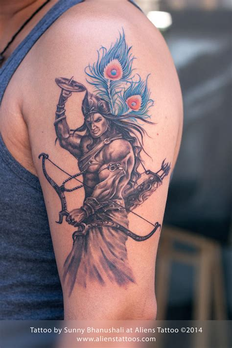 krishna tattoo warrior lord krishna by at aliens mumbai