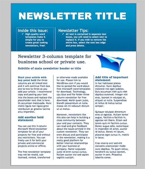Business Newsletter Templates Free Sanjonmotel Microsoft Newsletter Templates Word