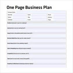 One Page Business Plan Template Word by One Page Business Plan Template Cyberuse