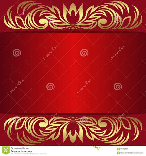 design background signboard elegant red background with royal borders cartoon vector