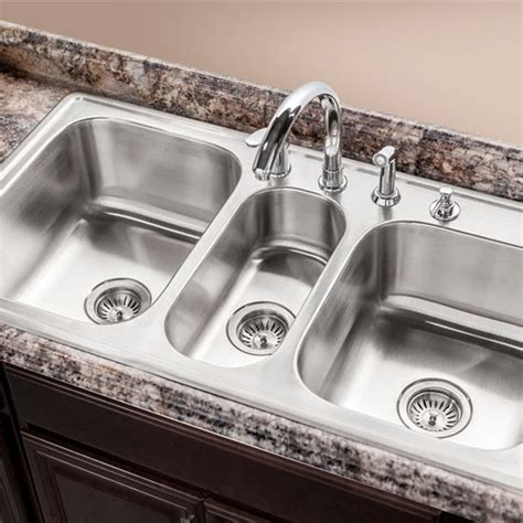three bowl kitchen sink premiere gourmet series topmount bowl kitchen sink by houzer kitchensource