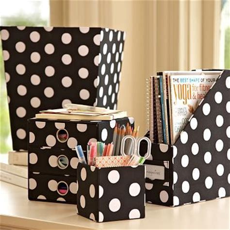 Black And Whitepolka Dot Desk Accessories So Me Polka Polka Dot Desk Accessories