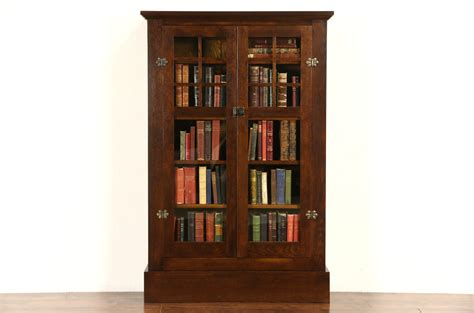 Library Bookcases With Glass Doors Sold Arts Crafts Mission Oak 1905 Antique Library Bookcase Glass Doors Harp Gallery
