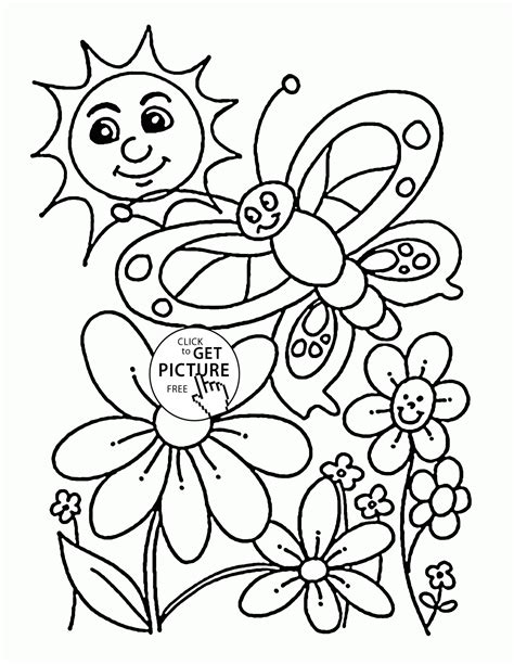 coloring pages spring nature happy nature in spring coloring page for kids seasons
