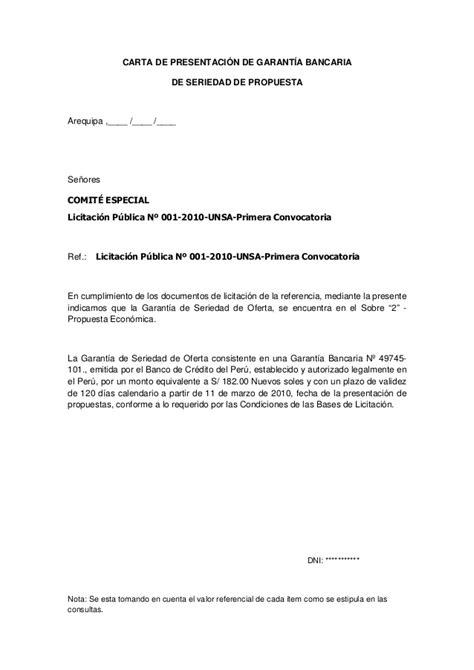 carta de licitacion modelo licitacion publica