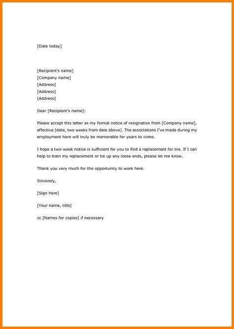Resignation Letter Pdf by 17 Two Weeks Notice Resignation Letter Pdf Xavierax
