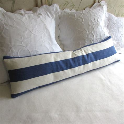 Daybed Bolster Pillows Decorative Daybed Bolster Pillow Linen Stripes Blue Fabric
