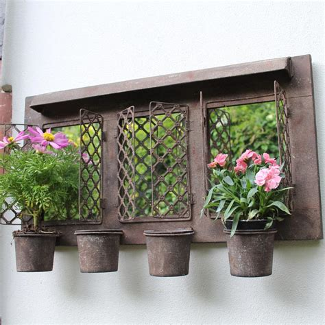 rustic metal outdoor wall mirrored garden planter plant