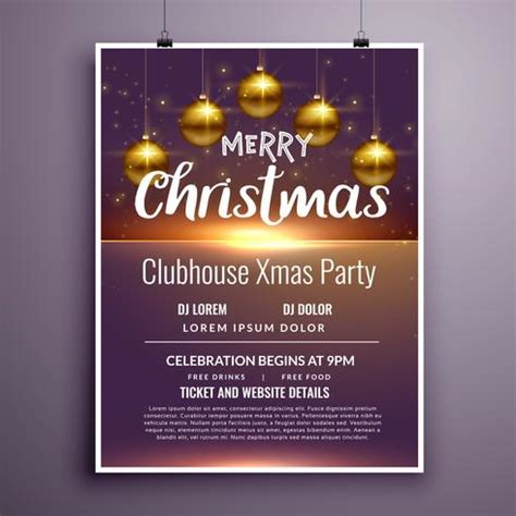 elegant merry christmas party flyer invitation template design   vector art stock