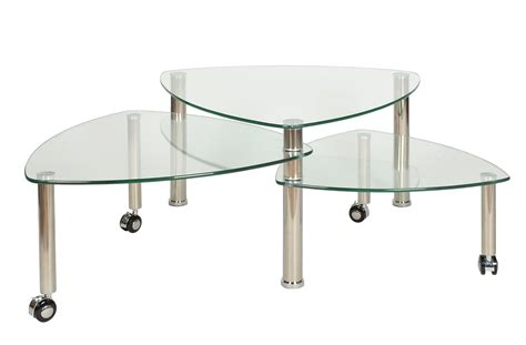Set Of 3 Triangular Glass Tables Coffee Tables With Wheels Glass Coffee Table With Wheels