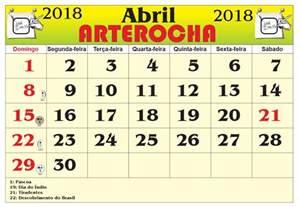Calendario 2018 Abril Arterocha Calend 193 Mes De Abril 2018