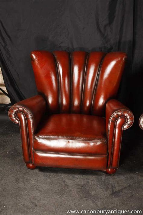Pair Art Deco Arm Chairs Hide Leather Sofa Seats Hide Leather Sofa