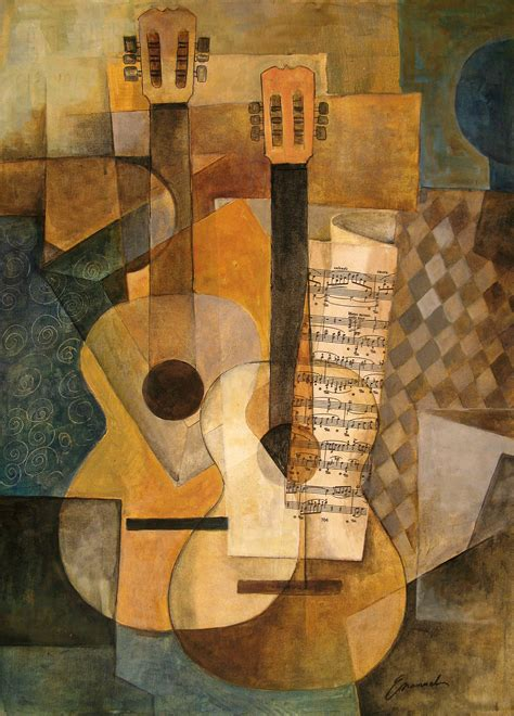 picasso paintings description la guitarra original cubist painting by emanuel ologeanu