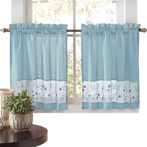 one rod curtain sets embroidered vines fairfield rod pocket kitchen cafe