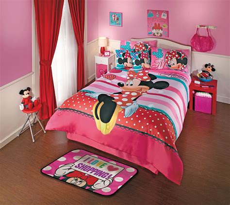 New Disney Minnie Mouse Love Pink Red Comforter Bedding Minnie Mouse Bedding Set