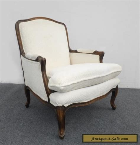 Accent Chairs For Sale by Vintage Provincial Style Carved Wood White Cotton