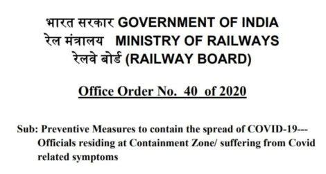 official residing  containment zone suffering  covid related symptoms railway board