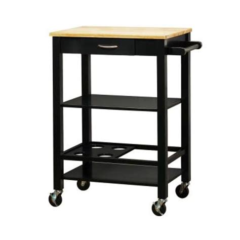 Home Depot Kitchen Carts by Homesullivan Mobile Kitchen Cart With Wood Top In