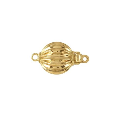 14k yellow gold corrugated bead safety clasp