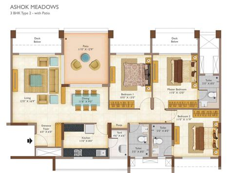 garden apartment floor plans ashok 2 3 bhk apartments floor plan