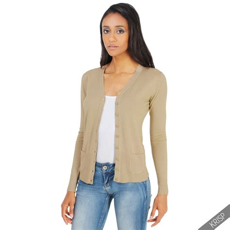 Cardigan Anak Hm Unisex 3 womens classic cardigan soft knit button sweater v neck work cardi top ebay