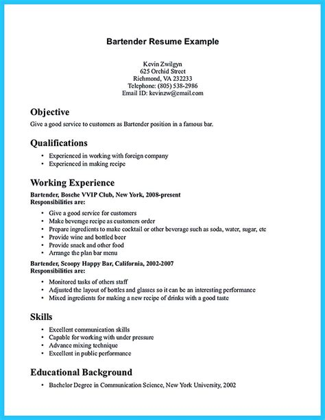 Exle Of Bartender Resume by Everything You Must Put Onto Your Impressive Bartenders Resume