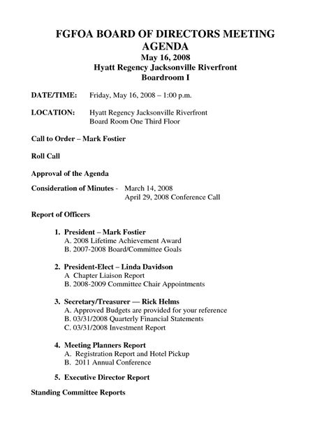 directors meeting agenda template best photos of board of directors meeting template board