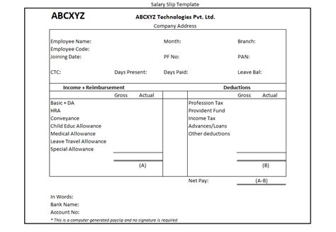 Computer Generated Monthly Employee Salary Slip Payslip