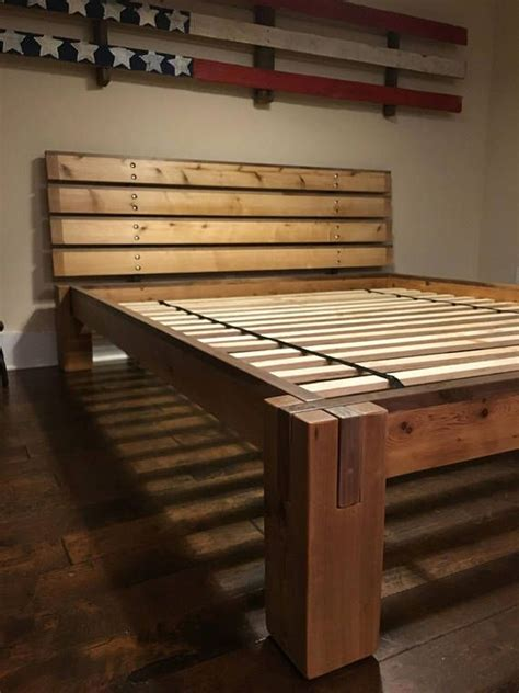 timber bed frame walnut and cedar notched timber bed frame and headboard