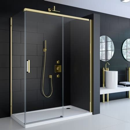 Gold Shower Doors Doors Enclosures Merlyn 8 Series Colour Sliding Door Gold Frame 1200mm