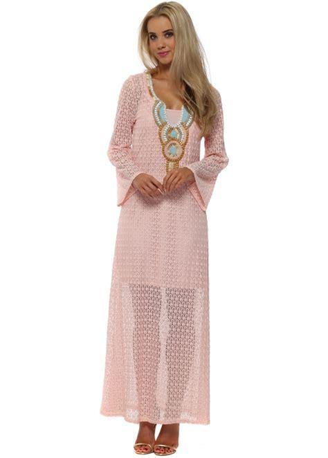 Dress Kaftan Dusty Pink just m pink lace maxi kaftan dress