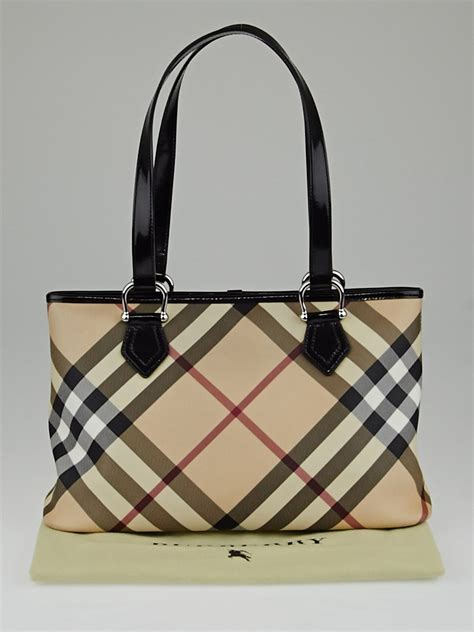 Burberry Check Canvas Tote by Burberry Black Patent Leather Supernova Check Coated