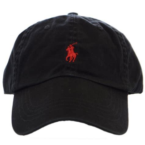 polo ralph black polo player baseball cap polo