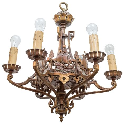 Six Light Bronze Chandelier Or Nautical Interest For Sale Lighthouse Chandelier
