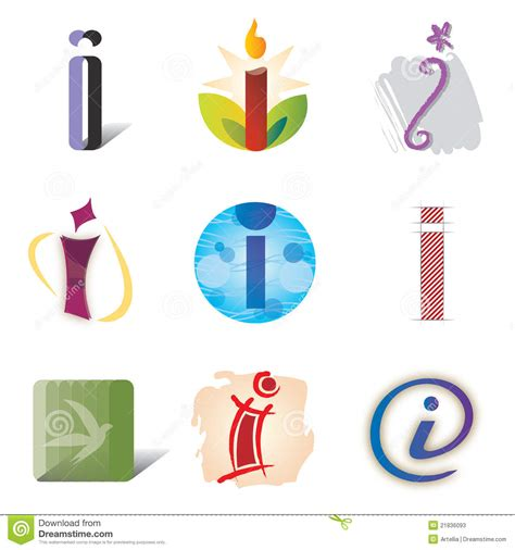 a i set of icons and logo elements letter i stock vector