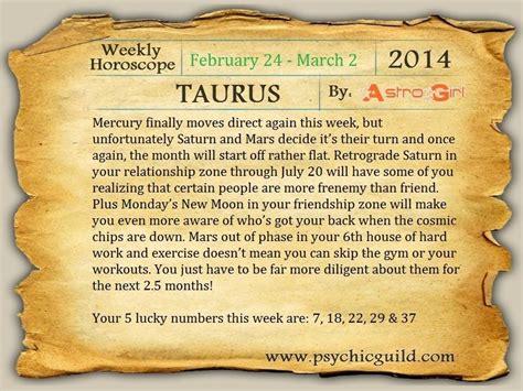 Taurus Monthly Horoscope by Horoscope Taurus Weekly