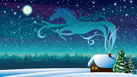 winter night starry sky full moon wooden house drawing  christmas uhd wallpapers