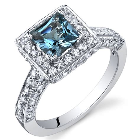 princess cut 1 00 cts blue topaz ring sterling