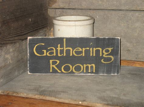 gathering room sign gathering room wood sign primitive rustic by appalachianprimitive