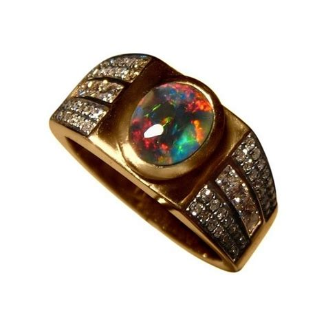 black opal mens ring men s opal and ring in 14k gold flashopal