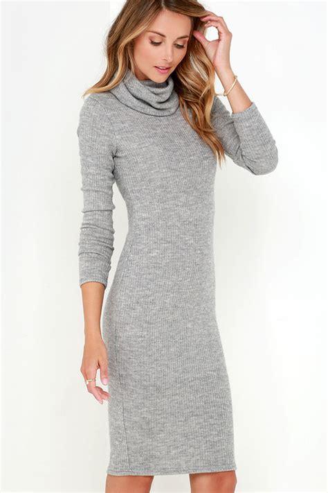 On Longsleeve Ropeside Grey chic grey dress ribbed knit dress bodycon dress turtleneck dress 39 00